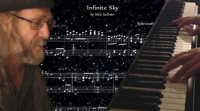 The title image of the video for Nick Sullivan's song 'Infinite Sky'