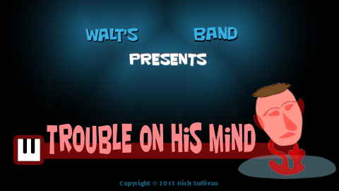 The title image of the video for Nick Sullivan's song 'Trouble On His Mind'