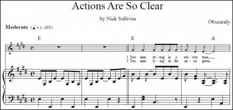 Actions Are So Clear sheet music (detail)