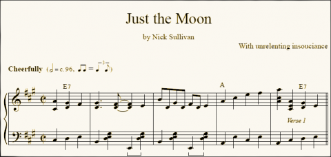 Just The Moon sheet music (detail)