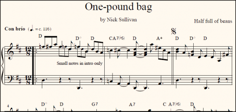One-Pound Bag sheet music (detail)