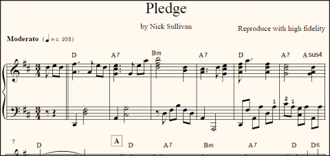 Pledge sheet music (detail)
