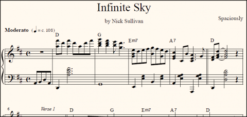 Infinite Sky sheet music (detail)