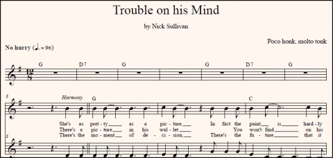 Trouble On His Mind harmony vocal sheet music (detail)