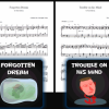 Thumbnails of the sheet music for our first four songs